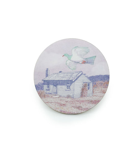 Coaster - Vintage Flying Kereru Round