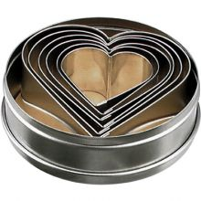 CHEF INOX CUTTER SET-HEART 6pc SIZE  50-90mm - Catering Sale