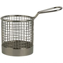 SERVING BASKET ROUND WIRE w/HDL 95x90mm - Catering Sale