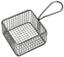 SERVING BASKET SQUARE WIRE w/HDL 95x95x60mm - Catering Sale