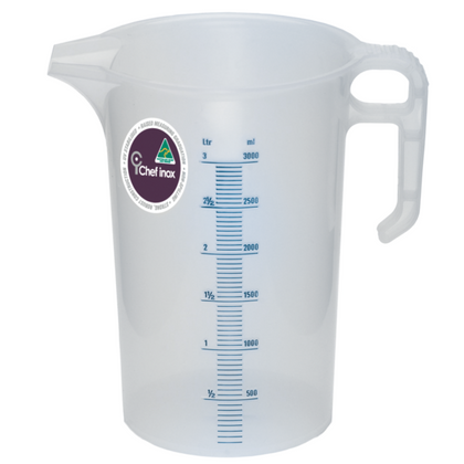 CHEF INOX BLUE SCALE PP THEMO MEASURING JUG-3.0lt - Catering Sale