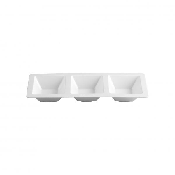 RECT PLATTER-3 COMP 370x150mm (6pcs) - Catering Sale