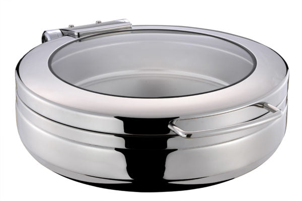 CHEF INOX INDUCTION CHAFER-18/8, ROUND, LARGE W/GLASS LID - Catering Sale