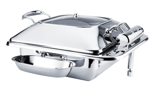 CHEF INOX DELUXE CHAFER-S/S, RECT, 2/3 SIZE W/GLASS LID - Catering Sale