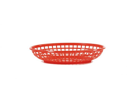 CONEY IS-PLASTIC SERVING BASKET OVAL RED 240x150x50mm - Catering Sale