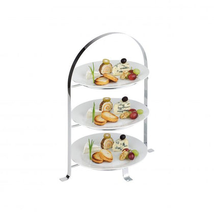 APS HIGH TEA STAND 3-TIER CHROME PLATED 430mm x 260mm - Catering Sale