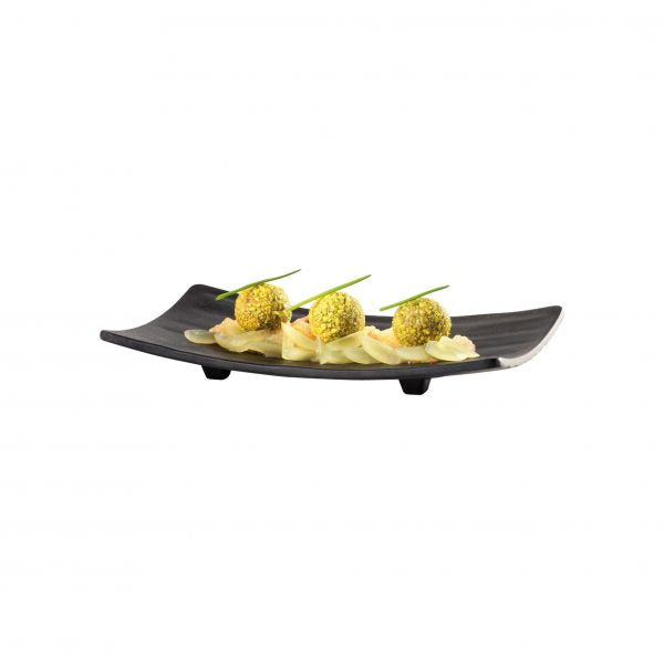 APS SUSHI PLATE RECTANGULAR 220x120mm BLACK MELAMINE