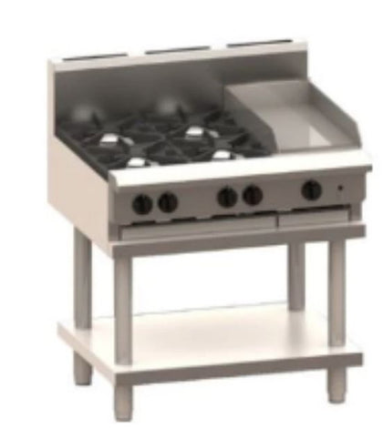LUUS CS-4B3P 4 burners & 300 griddle & shelf - Catering Sale