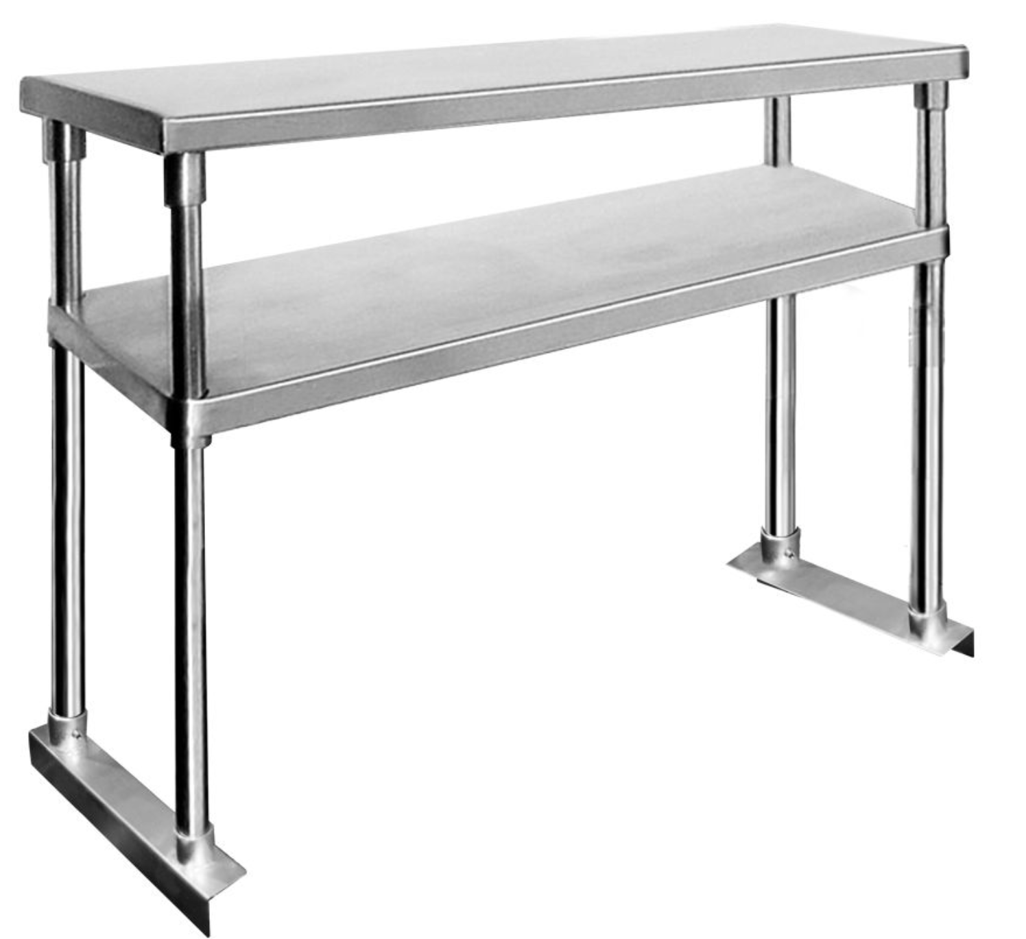 FED-Double Tier Workbench Flat Feet Overshelf 750mm High - Catering Sale