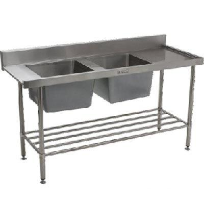Simply Stainless Double Sink Dishwasher Inlet Bench (600 Series) - Catering Sale