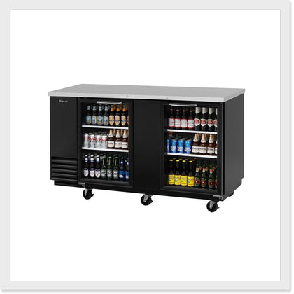 Turbo Air TBB-3SG Glass / TBB-3SB Black Back Bar