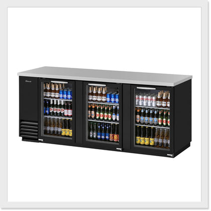 Turbo Air TBB-4SG Glass / TBB-4SB Black Back Bar