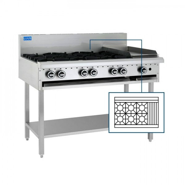 LUUS BCH-6B3C 6 Burners, 300 char & Shelf - Catering Sale