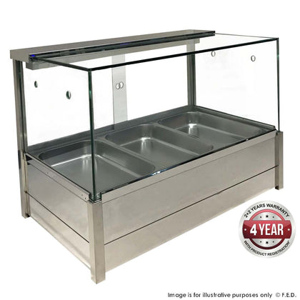 FED Heated Wet Bain Marie Square Countertop Display