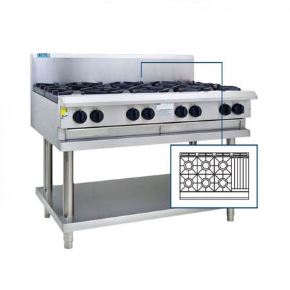 LUUS CS-6B3C 6 Burners, 300 BBQ & shelf 1200mm - Catering Sale