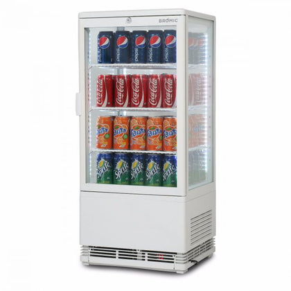 Flat Glass 78L LED with Lightbox Countertop Beverage ChillerCT0080G4LW - Catering Sale