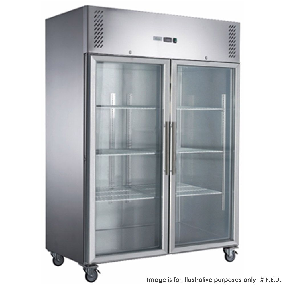 FED-X S/S Two Full Glass Door Upright Freezer - XURF1410G2V - Catering Sale