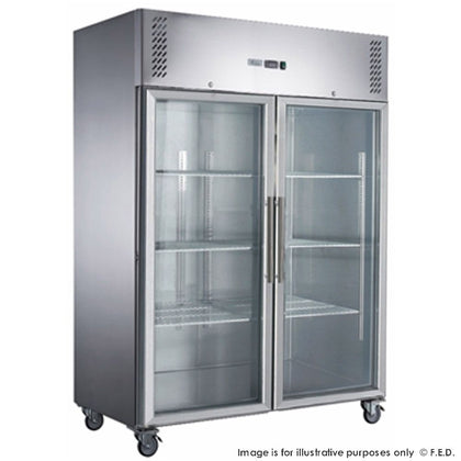 FED-X S/S Two Full Glass Door Upright Freezer - XURF1200G2V - Catering Sale