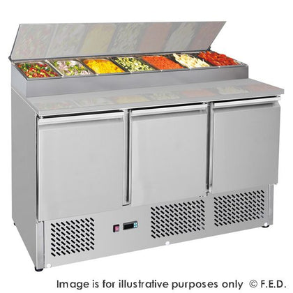 FED GNS1300D Three Door Compact Salad Prep Top - Catering Sale