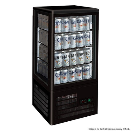 Four-Sided Countertop Display Fridge Black-TCBD78B - Catering Sale