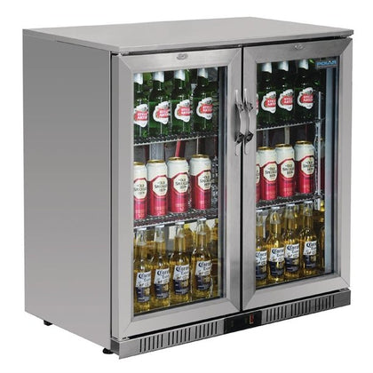 Polar GL008-A Double Door Bar Display Coolers -  223Ltr Stainless Steel Double Hinged Doors