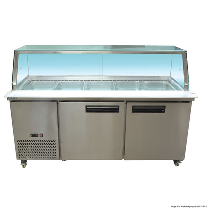 FED PG180FA-Y Salad Prep glass display bench fridge - Catering Sale
