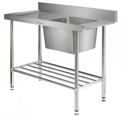 Simply Stainless Single Sink Dishwasher Inlet Bench - Catering Sale