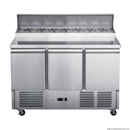 FED XGNS1300D Three Door Salad Prep Fridge - Catering Sale