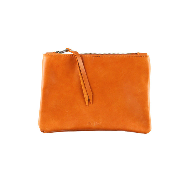 rib and hull orange leather wallet pouch