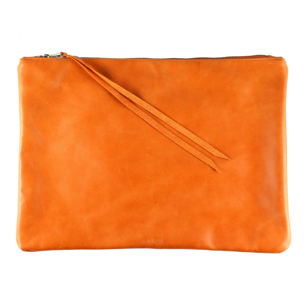 rib and hull orange leather xl pouch