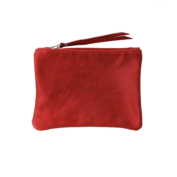 rib and hull red leather wallet pouch