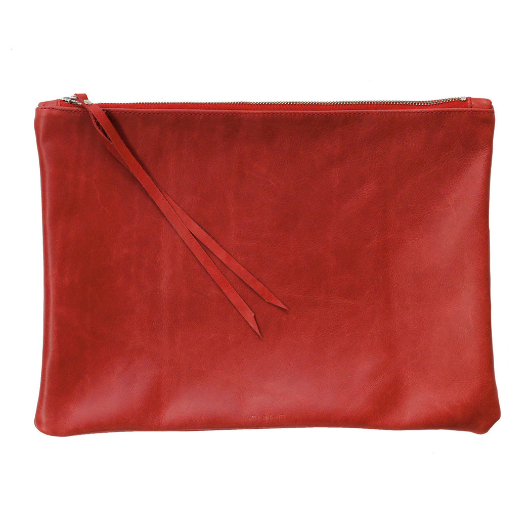 rib and hull red leather XL pouch