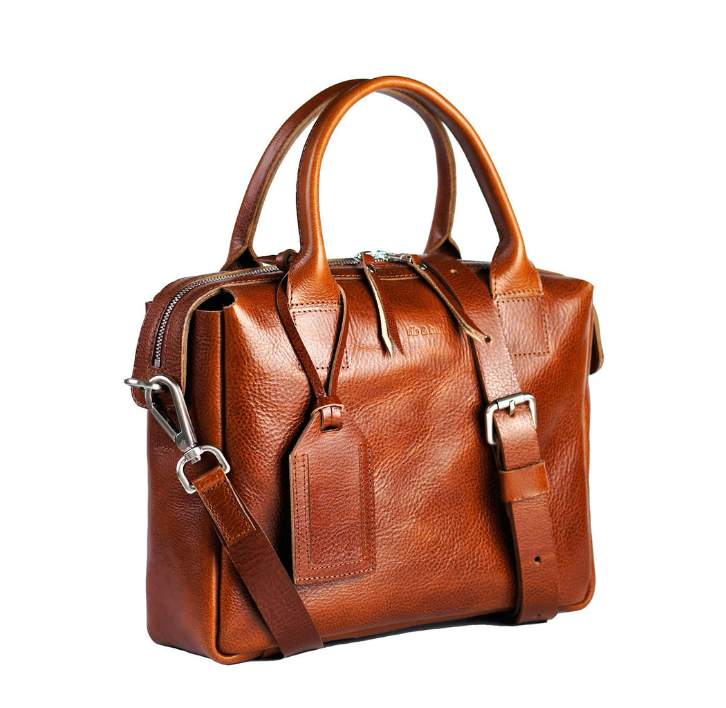 cognac heirloom satchel with tag