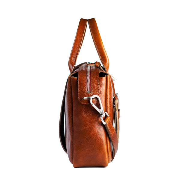 cognac heirloom satchel with strap