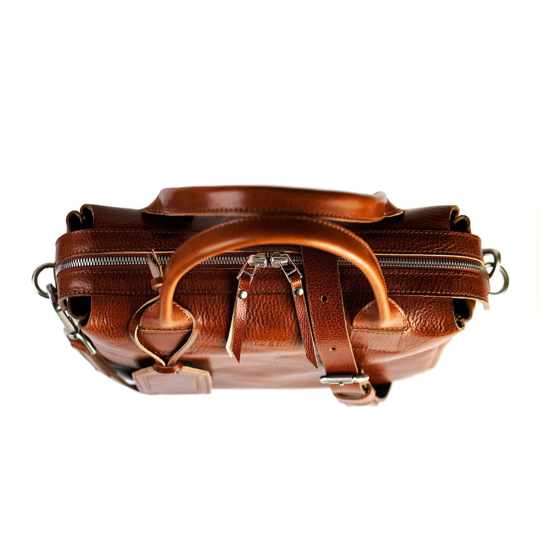 cognac heirloom satchel double zipper