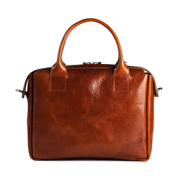 heirloom satchel in cognac backview