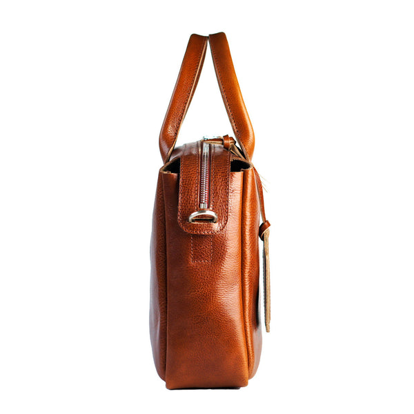 heirloom satchel in cognac sideview