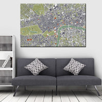 London Skeleton Map Canvas Print