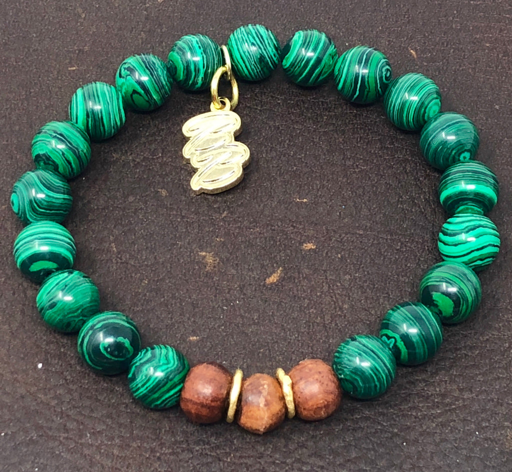 Malachite & Wood Stackable Chakra Bracelet