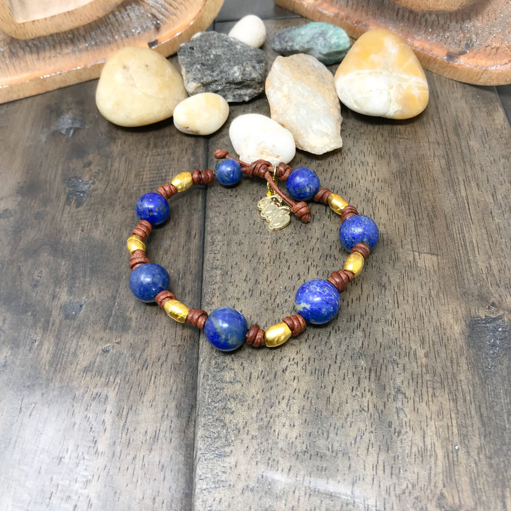Lapis Lazuli Leather Stackable Chakra Bracelet