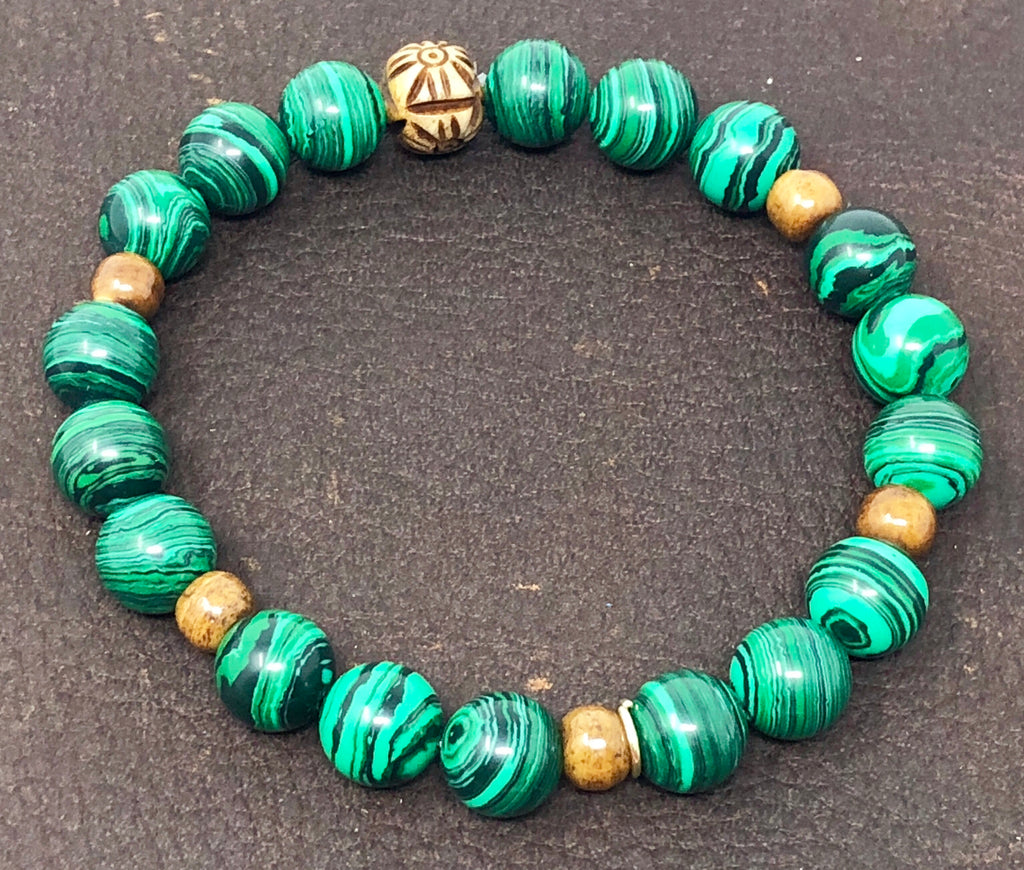 Malachite & Tea Bone - Stackable Chakra Bracelet