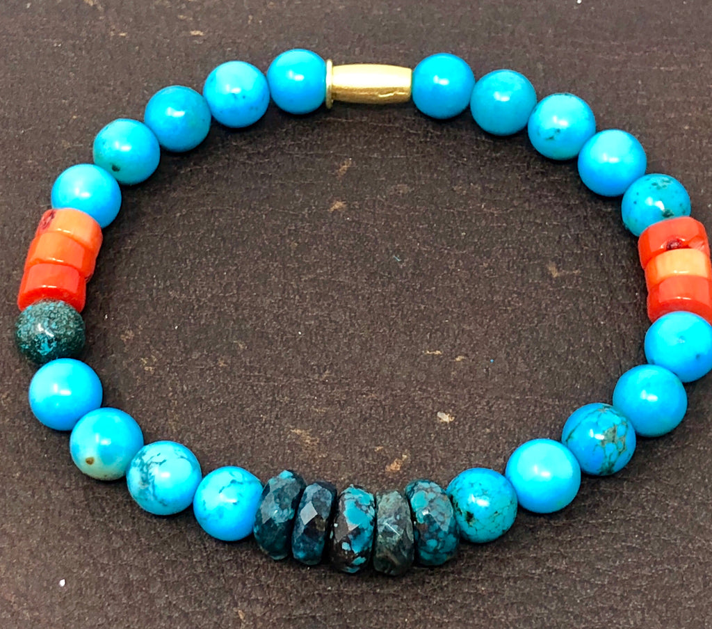 Turquoise & Coral Stackable Chakra Bracelet