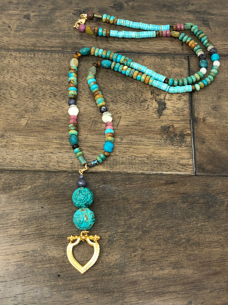 "Natural Turquoise ""Goddess"" Necklace with heart pendant"
