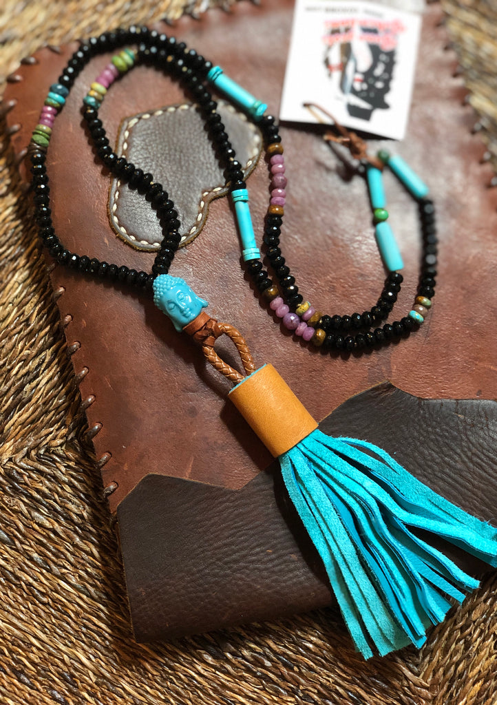Ruby & Onyx Mala Necklace with Suede Tassel