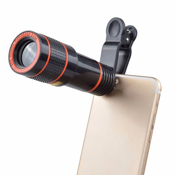Clip-on 12x Optical Zoom Mobile Phone Telescope Lens