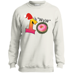 Wow.Pink PC90Y Port and Co. Youth Crewneck Sweatshirt