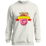 Elves Sprinkles Pink PC90Y Port and Co. Youth Crewneck Sweatshirt