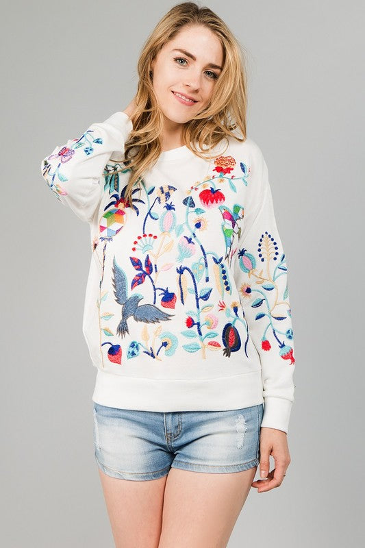Enchanted garden embroidered sweater