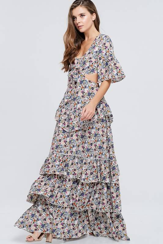 Floral Print Cut Out Maxi Dress