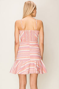 Sweetheart neckline striped dress